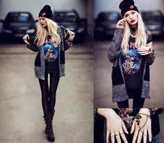 Choies Beanie, Sheinside Cardigan, Romwe Ring, Gypsy Warrior Handpiece, Fashion To Any Shiny Leggings, Boned Shirt