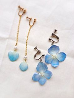 [Pressed flower] hydrangea earrings [resin] accessories Accessories