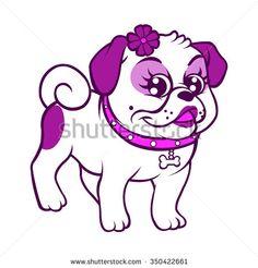 cartoon purple pug