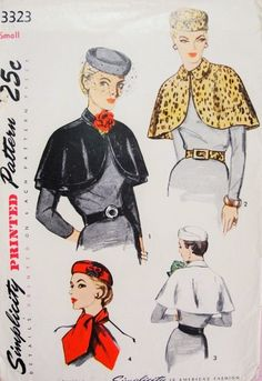 50s Stunning Hat Cape Scarf and Belt Pattern Simplicity 3323 Day or Evening Wear Accessories Vintage Sewing Pattern