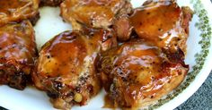 Chicken thighs, simply seasoned and slow cooked in the crockpot with a mixture of pineapple juice, brown sugar and soy sauce, that is thickened and brushed on as a finishing glaze.