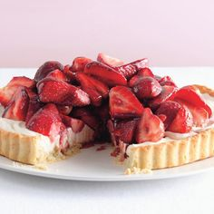 This time of year, you can't have too many fruit tarts. Here, ripe strawberries drizzled with Port glaze top a luxurious no-bake mascarpone filling. The press-in crust, by the way, is a breeze to make.