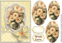 Roses Lace and Butterflies Yellow on Craftsuprint designed by Mary MacBean - Pretty pyramid card front with a vase of vintage roses, lace, pearls and butterflies. There is a With Love sentiment or a blank tag for your own message making this card suitable for many occasions.  - Now available for download!