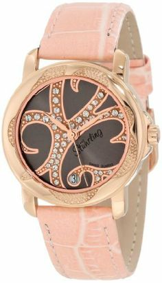 Stuhrling Original Women's 138.124A64 Vogue Audrey Isis Swiss Quartz Swarovski Crystal Date Pink Watch Stuhrling Original. $109.99. Water-resistant to 50 M (165 feet). Gunmetal beaded dial with swarovski crystal studs and date window at six o'clock position. Pink lizard embossed genuine leather strap with rose tone buckle. Protective krysterna crystal on front and decorated case back. 16k rose gold layered stainless steel round shape case with engraved beading o...
