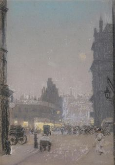 Joseph Mullard, Liverpool Street, Made of Pastel on grey paper