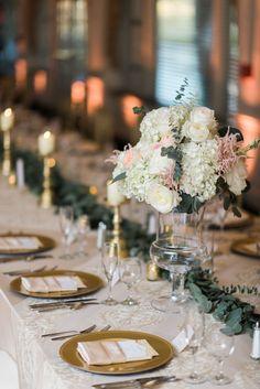 White Hydrangea and Garden Rose Centerpiece