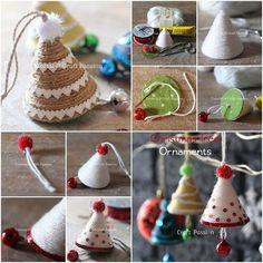 Creative Ideas - DIY Adorable Christmas Tree Ornaments with Yarn or Twine | iCreativeIdeas.com Follow Us on Facebook --> https://www.facebook.com/iCreativeIdeas