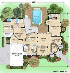 Hermann Park House Plan First Floor