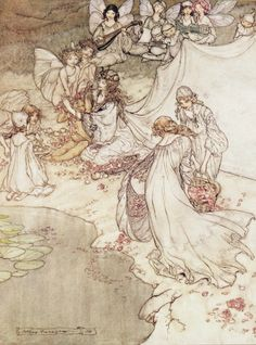 Illustration for a Fairy Tale, Fairy Queen Covering a Child with Blossom