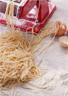 Lidia Bastianich's pasta recipe...   3 cups all-purpose flour  3 large eggs, lightly beaten  ¼ cup extra-virgin olive oil  7 tablespoons very cold water, plus more as needed
