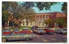 MASON CITY Iowa LIBRARY Cars chrome L.L. Cook Co postcard