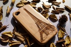 Natural Bamboo Wood Wooden Tower Eiffel carving Case Cover For iPhone 4