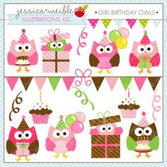 Girl Birthday Owls - Cute Digital Clipart for Commercial and Personal Use, Pink Girl Owl Clipart, Birthday Girl Graphics Owl Parties, Owl Birthday Parties, Birthday Ideas, Little Girl Birthday, Boy Birthday, Birthday Design, Birthday Clipart, Pink Girl, First Birthdays
