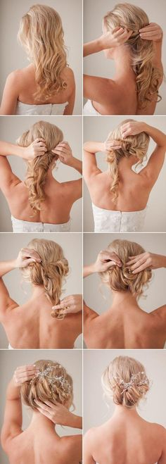 Bridal Hair Tutorial from 100 Layer Cake Curl hair using hot rollers, section off bangs an tease crown From left side gather and twist hair towards center pinning with a bobby pin Do the same thing on the right side of your head Separate remaining hair into three sections, twisting and rolling each section near …