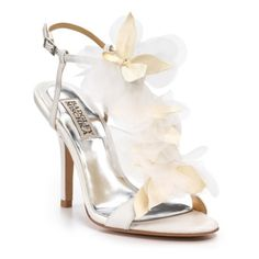 """Badgley Mischka """"Dreamy Flower"""" T-Strap Sandals ($135) ❤ liked on Polyvore featuring shoes, sandals, heels, scarpe, wedding, shoesboutiquesnew arrivals, leather t strap sandals, ankle strap sandals, high heel sandals and ankle wrap sandals"""