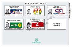 Tarjetón de elección para Alcalde de Páez