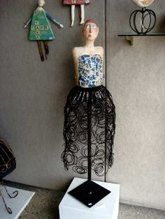 """Laura Balombini-Enchanted"""" stoneware,antique china as mosaic,old bed springs, steel stand Old Bed Springs, Esquivel, Art Corner, Spring Steel, Art Cards, Assemblage Art, Art For Art Sake, Antique China, Outsider Art"""