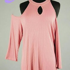 Plus Size Cream Pink Top Cream Pink top with cut off shoulders and a key hole  Super soft and smooth Tops Blouses