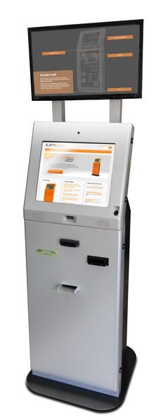 "The URway TransAct midi kiosk is a perfect transaction kiosk platform for both cash/note and digital currencies (Bitcoin).  Supports, 19"" touch screen, Industrial pc, digital power filter, amplifier & speakers, cash in & cash out, receipt printer, card reader, bar code scanner, biometrics, camera, attract screen and many other options.  Many features packed into a compact kiosk design! Kiosk Design, Card Reader, Filing Cabinet, Speakers, Compact, Filter, Platform, Industrial, Coding"