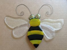 Fused glass  Bumble bee yard art