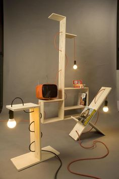 Italian designer William Raffredi created unique Shelf Lamp using simple parts such as flat wooden boards, lengths of electrical cable, light bulb and Shelf Furniture, Wood Furniture, Shelf Lamp, Shelf Desk, Interior Design Elements, Wooden Lamp, Tiffany Lamps, Wood Design, Light Decorations
