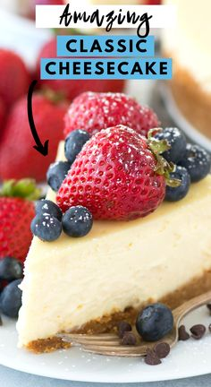 The best classic plain cheesecake recipe with a graham cracker crust. Impress guests every time you make this Philadelphia style cheesecake with our step by step recipe how to bake a cheesecake in a water bath. Cheesecake Recipe Heavy Cream, Plain Cheesecake, Homemade Cheesecake, Classic Cheesecake, Cheesecake Recipes, Köstliche Desserts, Best Dessert Recipes, Delicious Desserts, Yummy Food