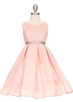 Elegant Lace Blush Girl Dress with Rhinestone waist