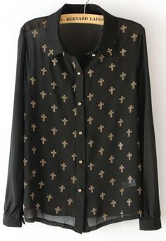 Black Long Sleeve Rhinestone Cross Chiffon Blouse