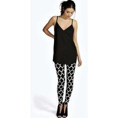 33547801f139 Boohoo Jaimie Grid Print Jersey Leggings ( 7) ❤ liked on Polyvore