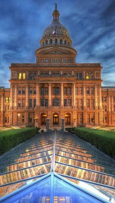 Texas State Capitol, Austin, rear view, already larger than the US Capitol Building in Washington, it was expanded in the 1990's more than doubling the space.  The glass ceiling is an atrium to the offices below.
