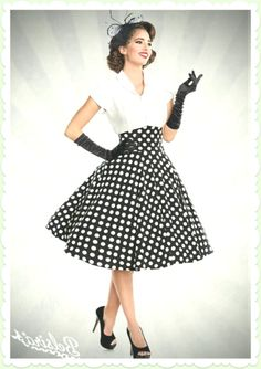 Belsira Rockabilly Dots Rock - Hohe Taille - Schwarz Weiß - my dream style - Mode Robes Rockabilly, Look Rockabilly, Rockabilly Fashion, Rockabilly Outfits, Vintage Outfits, Retro Outfits, Vintage Dresses, Komplette Outfits, Outfits For Teens