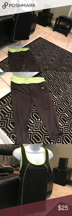 NWT. Neon yellow and black workout outfit As shown. Never worn. Size says xl bit fits womans large Tops