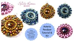 Asteria Pendant with 12mm rivoli, superduos, 11/0 and 15/0 seed beads