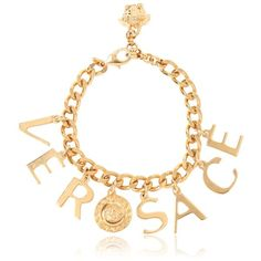 VERSACE Logo Lettering Chain Bracelet (560 BGN) ❤ liked on Polyvore featuring jewelry, bracelets, gold, gold bracelet bangle, versace bracelet, adjustable bracelet, charm bracelet bangle and clasp charms