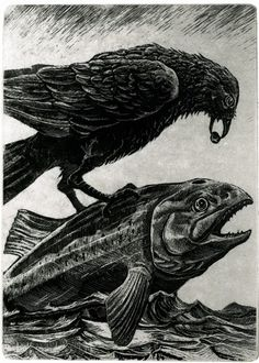 "Raven Helps Salmon to Swim. From ""In The Shadow of the Mountains"" by Larry Vienneau."