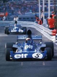 Jackie Stewart leading team mate Francois Cevert , Tyrrell 006 's  , 1973 Monaco GP