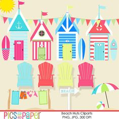Beach cliparts, digital illustrations for scrapbooking,umbrella, surfboards, huts, cottage,card making, stationary, invitation, paper crafts on Etsy, $5.00