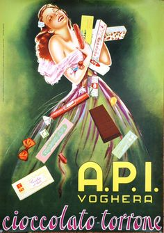 1950s A.P.I Chocolate- Nougat vintage advert poster Italy