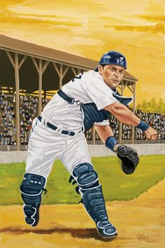 Ivan Rodriguez - Gouache by Dick Perez Rangers Baseball, Baseball Art, Sports Baseball, Sports Art, Sports Posters, Sports Pics, Baseball Stuff, Texas Rangers, Mlb Players