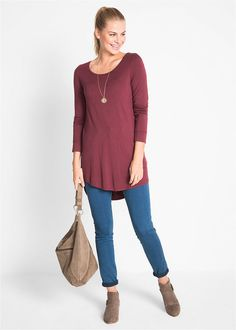 Hosszú ujjú hosszú póló • juharpiros • bonprix áruház Blouse, Long Sleeve, Sleeves, Tops, Women, Fashion, Moda, Women's, Fashion Styles