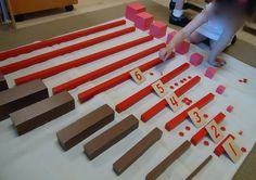 Brown Stairs, Pink Tower, Red Rods and Numbers and Counters variation Montessori Kindergarten, Montessori Preschool, Homeschool Math, Homeschooling, Counting Activities, Preschool Activities, Math For Kids, Crafts For Kids, Dots Game