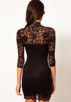 Black Band Collar Seven's Sleeve Mini Lace Dress - Dresses
