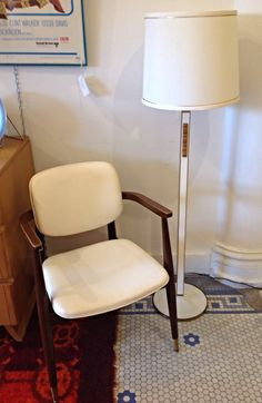 """Mid Century Modern Lightolier Floor Lamp - Great vintage mid century modern Lightolier floor lamp in white with tile inset. This piece is in great vintage condition showing only minor wear normal for its age.  Dimensions:  54.5"""" tall - $125"""