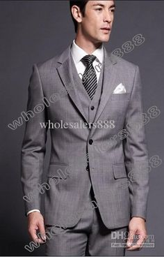 Wholesale Side Vent Light Grey Groom Tuxedos Notch Lapel Groomsmen Men Wedding Suit(JacketPantsTieVest)H337, Free shipping, $99.58-118.88/Piece | DHgate