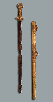 Sword in Gold Sheath. Era of the Avars' and Turks' State    7th century    Pereshchepina Complex, near Poltava, the Village of Malaya Pereshchepina   Russia (now Ukraine)    Gold, iron and glass; forged, rolled, granulation