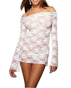 Damen Dessous Reizwäsche Babydoll Unterwäsche Nachtwäsche Negligee mit G-String Weiß
