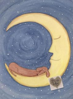 Brown shorthaired dachshund (doxie) sleeping on moon / Lynch signed folk art print Weiner/Wiener dog by watercolorqueen on Etsy Brown Dachshund, Arte Dachshund, Dachshund Love, Daschund, Dachshund Puppies, Funny Puppies, Dapple Dachshund, Chihuahua Dogs, Dog Love