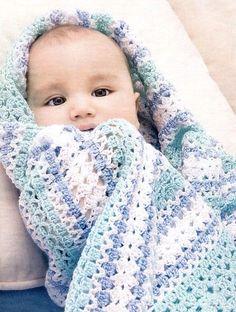 Нежный плед для малыша | Вязание для детей | Вязание спицами и крючком. Схемы вязания.