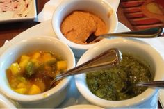 Sanaa (Disney's Animal Kingdom Resort Area) -- Indian-style bread service with mango chutney, coriander chutney, and roasted red bell pepper hummus