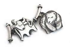BULL & BEAR CUFFLINKS Solid sterling silver figures - for those with a penchant for the stock market Penchant Design